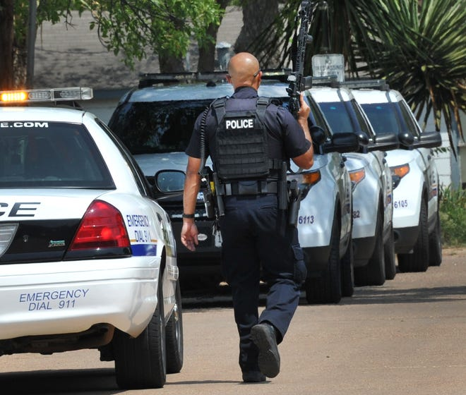 """John Spragins, president of the Wichita Falls Police Officers Association, spoke Tuesday during a public hearing at the Wichita Falls City Council . Spragins said council is """"pushing the problem down the road"""" by not addressing first-responder salaries this budget cycle."""