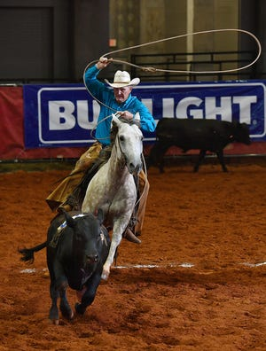 In this file photo, Jerry Bob Daniel of the Circle Bar Ranch ropes a calf during the Calf Doctorin' competition at the Texas Ranch Roundup at the Kay Yeager Coliseum. This year's event, locally benefiting the North Texas Rehabilitation Hospital, will be 9 a.m. to 9:30 p.m. Aug 16; 7:30 a.m. to 9:30 Aug. 17, and 9 a.m. to 1 p.m. Aug. 18. Multi-Purpose Event Center, 1000 Fifth th St.