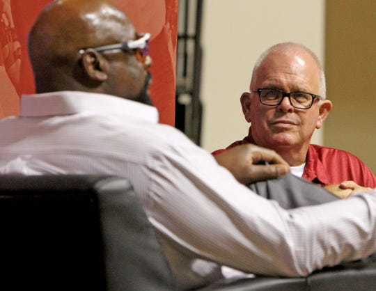 """Jerry Johnson, BSN branch manager, interviews Ed """"Too Tall"""" Jones at Midwestern State University's 12th Annual Welcome Back Dinner Sunday, Aug. 19, 2018, in D.L. Ligon Coliseum at MSU."""