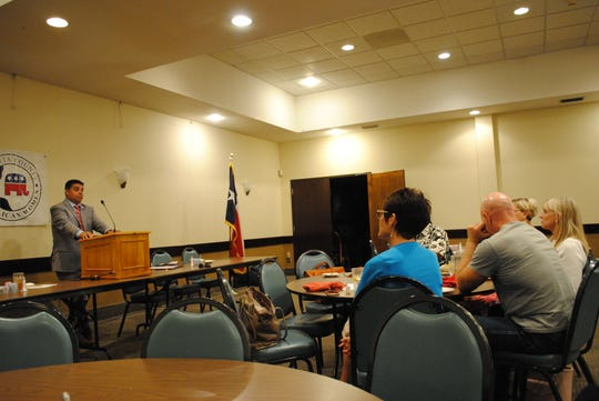 Wichita Falls Mayor Stephen Santellana speaks Monday to the Wichita County Republican Women at a meeting room at Luby's Cafeteria.