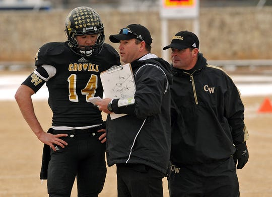 MItchell Parsley (14) quarterbacked the Crowell Wildcats to a pair of state titles this decade. He's back at Crowell to coach the Wildcats into the next decade.