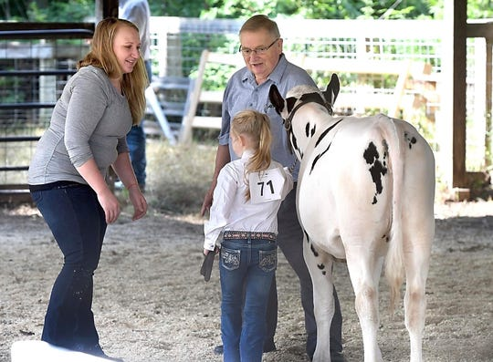 In this Friday, July 27, 2018 photo, Dairy cattle judge John Schroeder talks with Emma Appel, 7, as she shows her cow Jewel with her aunt Theresa at the Blue Earth County Fair in Garden City, Minn. Schroeder has been judging dairy cattle for nearly 50 years, primarily for 4-H and FFA.