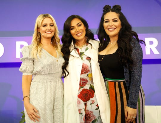 "Kirbie Johnson, Huda Katton and Mona Kattan speak onstage during the ""Beauty's Biggest Sister Act"" panel on day 2 of POPSUGAR Play/Ground on June 10, 2018, in New York City. (Photo by Brian Ach/Getty Images for POPSUGAR Play/Ground)"