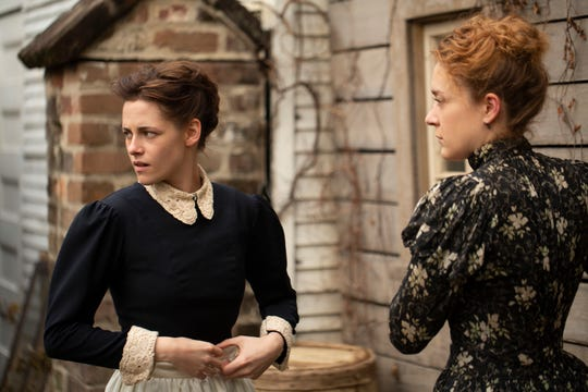 "Housemaid Bridget Sullivan (Kristen Stewart, left) strikes up an intimate friendship with Lizzie Borden (Chloe Sevigny) in ""Lizzie"" (Sept. 14), based on the 1892 murders of the Borden family."
