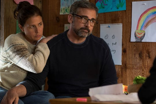 "Steve Carell (with Maura Tierney) is a father struggling to help his son overcome drug addiction in ""Beautiful Boy."""