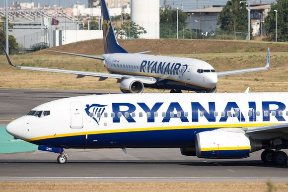 This file photo from June 2018 shows Ryanair Boeing 737s queuing for departure from Lisbon Portela International Airport.