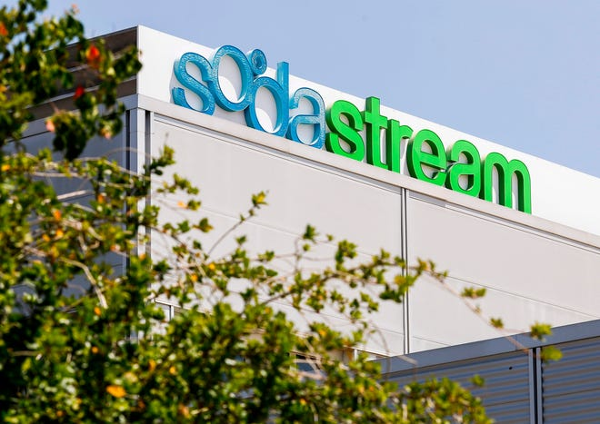 A picture taken August 20, 2018 shows the head offices of the company SodaStream, an Israeli maker of carbonation products, in the city of Lod, 15 kilometres southeast of Tel Aviv. - PepsiCo said Monday it plans to buy SodaStream for $3.2 billion as the beverage and snacks giant makes further inroads with in-home goods.