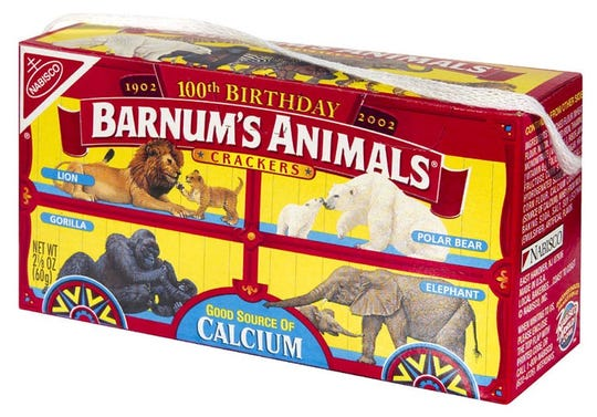 The old packages of Barnum's Animals showed the animals in cages.