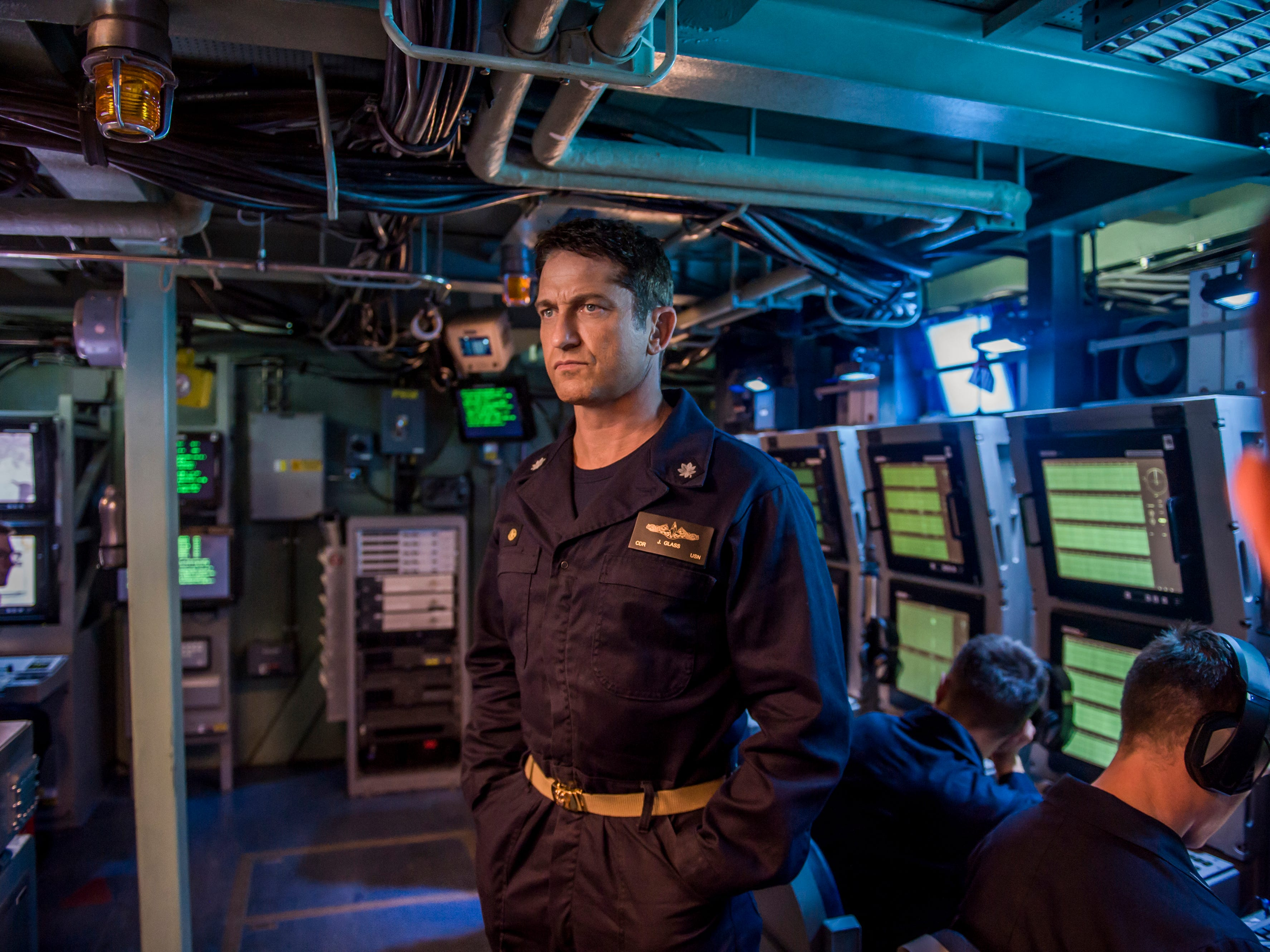 "An American submarine commander (Gerard Butler) leads a group of Navy SEALs tasked with rescuing the Russian president and staving off World War III in ""Hunter Killer"" (Oct. 26)."