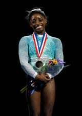 On Sunday night Simone Biles won her fifth title at the U.S. Gymnastics Championships. But it's what she wore that sent the loudest message.