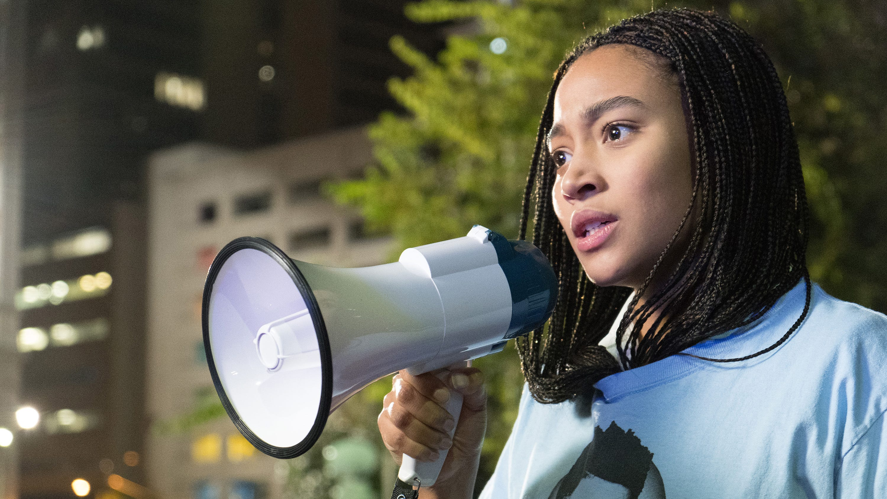 "Starr Carter (Amandla Stenberg) becomes an activist for change after a childhood friend is gunned down in front of her in the drama ""The Hate U Give"" (Oct. 19)."