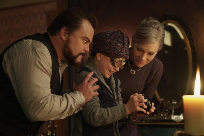 "Ten-year-old Lewis (Owen Vaccaro, center) gets magical life lessons from his uncle (Jack Black) and their witchy neighbor (Cate Blanchett) in ""The House With a Clock in Its Walls"" (Sept. 21)."