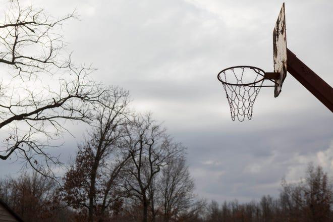 A makeshift basketball court.
