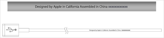 "An official Apple Lightning to USB cable has ""Designed by Apple in California"" and either ""Assembled in China,"" ""Assembled in Vietnam,"" or ""Indústria Brasileira"" written on it."