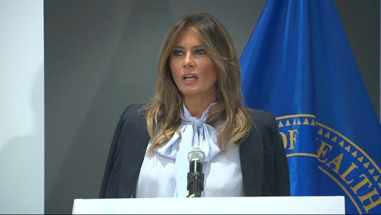 First lady Melania Trump addresses cyberbullying at a conference on the same subject.