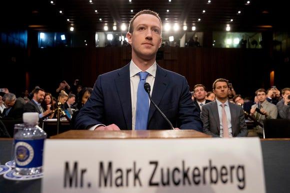 Mark Zuckerberg on Capitol Hill on April 10, 2018.