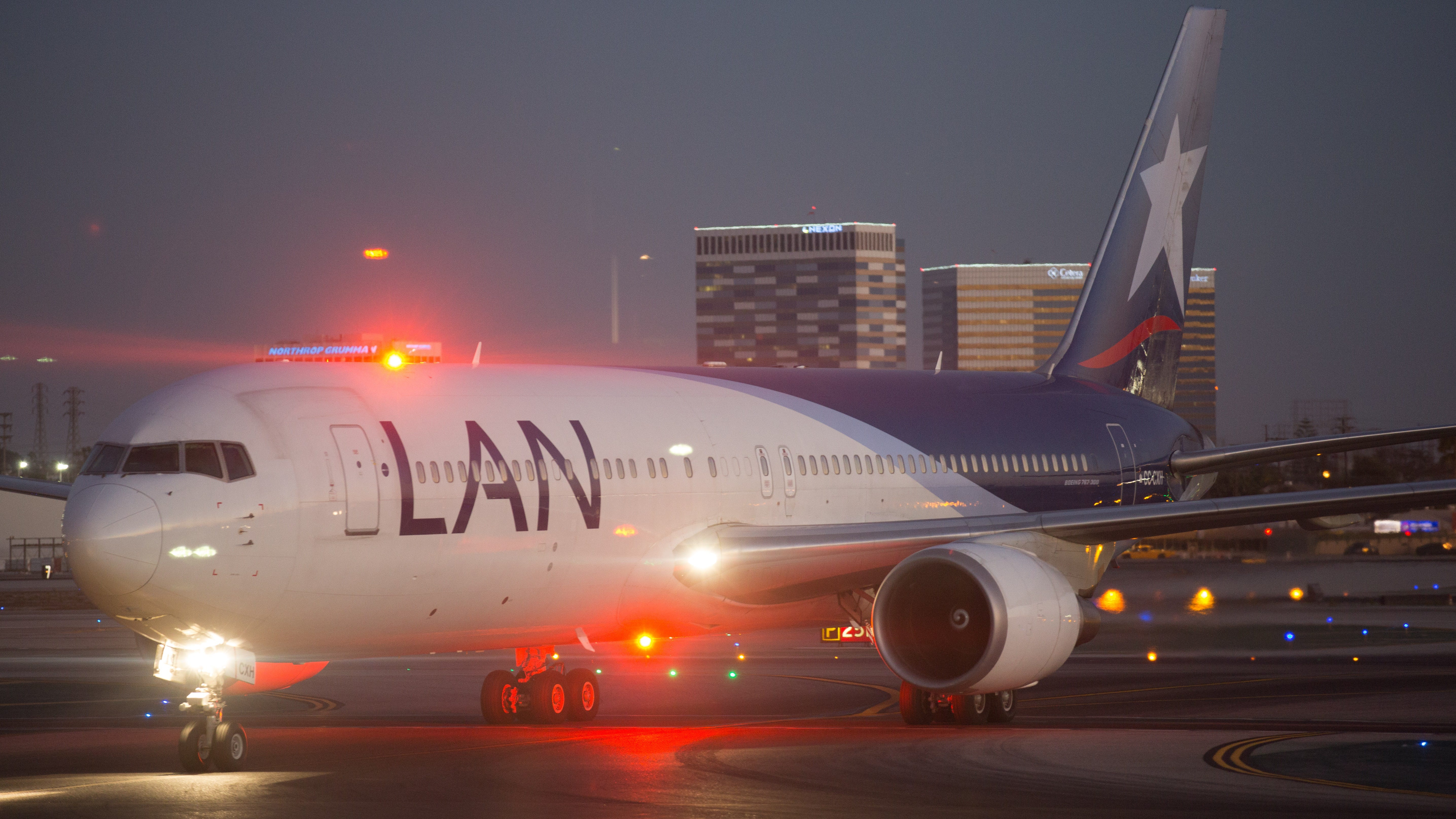 This file photos from September 2016 shows a LAN Airlines Boeing 767 at Los Angeles International AIrport. LAN is now parter of LATAM Airlines following a merger with TAM.