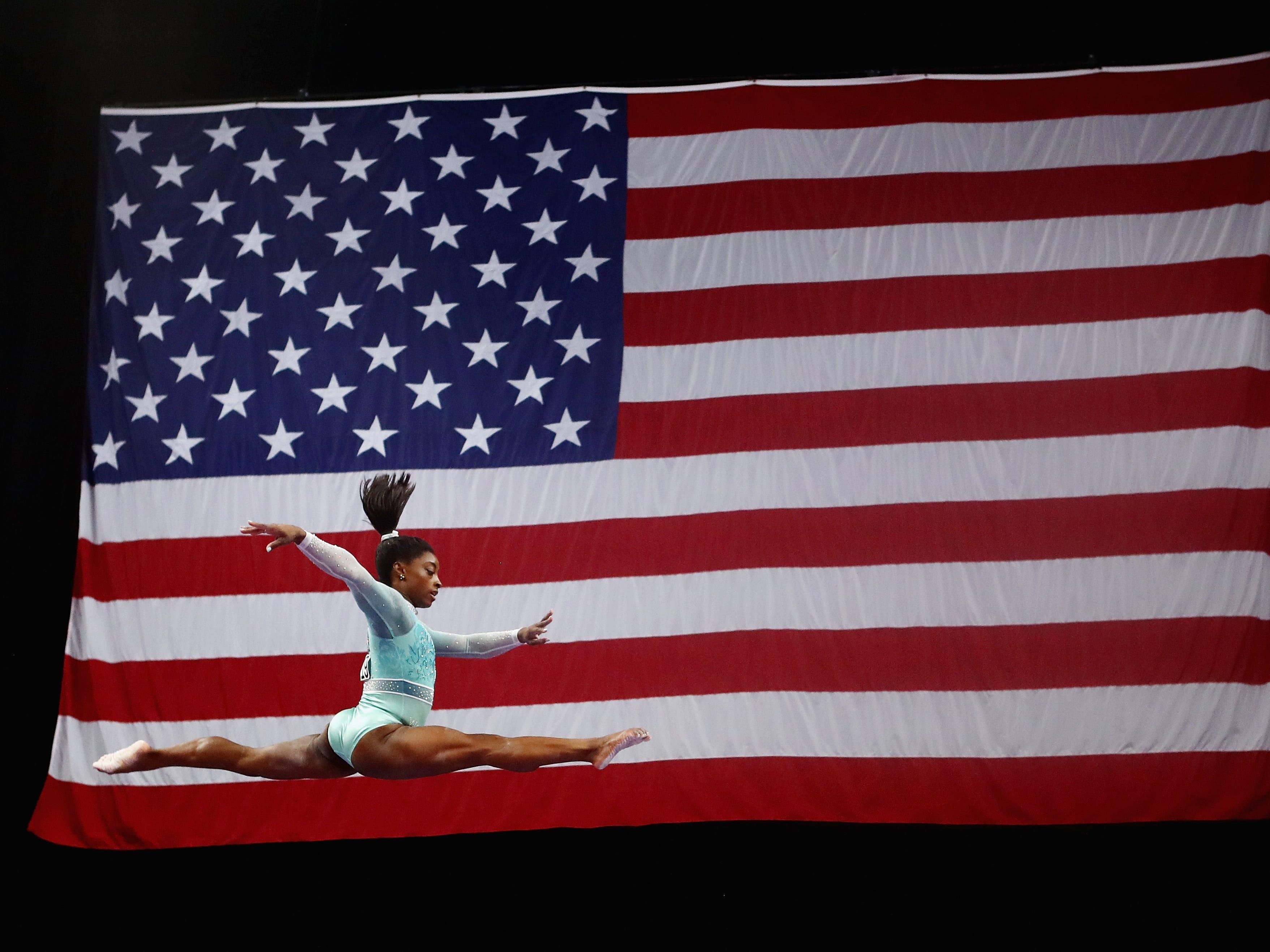 Simone Biles competes on the balance beam at the U.S. Gymnastics Championships.