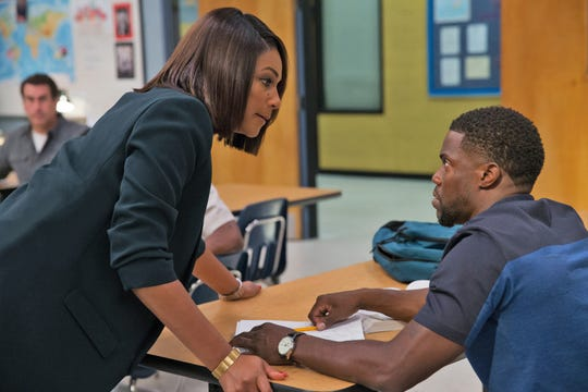"""Carrie (Tiffany Haddish) tries to smarten up Teddy (Kevin Hart) and a bunch of other misfits so they can pass the GED in the comedy """"Night School"""" (Sept. 28)."""