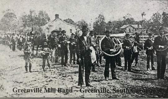 An old photo of the Greenville Mill Band