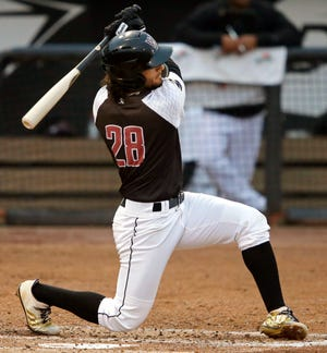 Eddie Silva of the Wisconsin Timber Rattlers bats against the Burlington Bees during a game earlier this month at Neuroscience Group Field at Fox Cities Stadium in Grand Chute.
