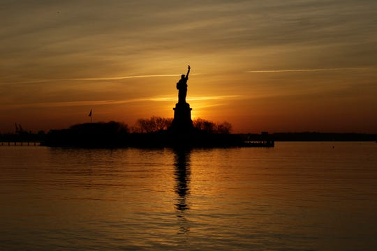 The Statue of Liberty stands in the harbor seen from Liberty State Park on January 21, 2018 in Jersey City, New Jersey.  (Photo by Eduardo Munoz Alvarez/Getty Images)