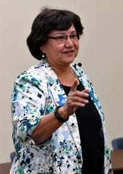 Lupe Valdez, the Democratic candidate for Texas governor, speaks during a campaign stop at the Abilene Public Library's Mockingbird branch Tuesday.