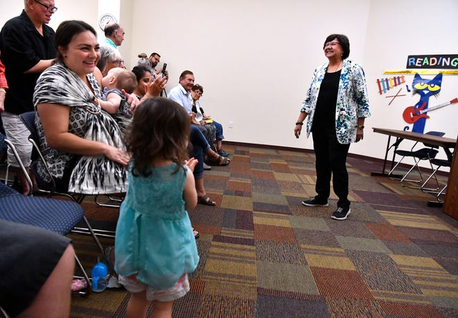 Lupe Valdez, the Democratic candidate for Texas governor, is applauded at the conclusion of her remarks at the Mockingbird branch of the Abilene Public Library Tuesday.
