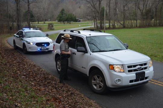 Smokies Ranger Carmen Barnard makes a vehicle stop in this file photo. Rangers are a step closer to getting new handheld and mobile radios to replace ones that are more than 10 years old.