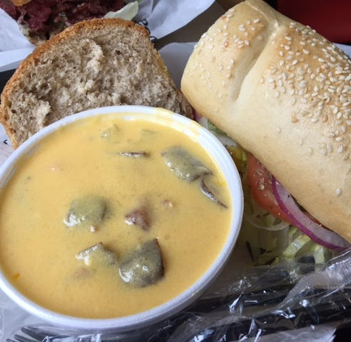 The Guido Grinder and a side of Loaded Baked Potato soup at Sidestreet Deli in Charlotte.