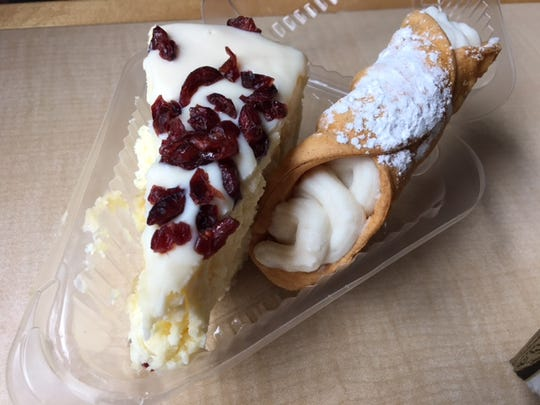 Cheesecake and cannoli at Sidestreet Deli in Charlotte