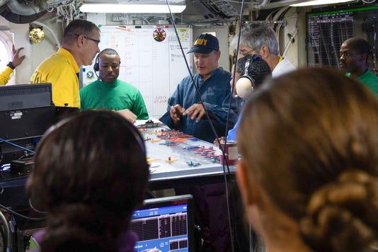Woody Harrelson visits USS John C. Stennis