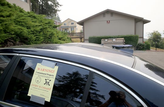 A sticker warns residents of the possible presence of fentanyl at the Hillsider Apartments in Poulsbo.