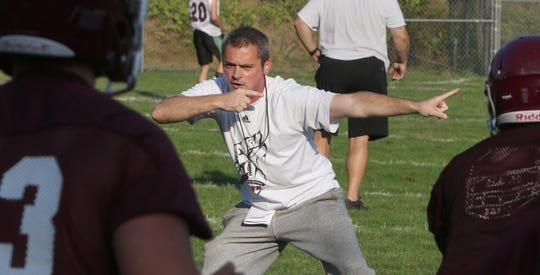 Coach Cory Vartanian at a recent South Kitsap football practice.