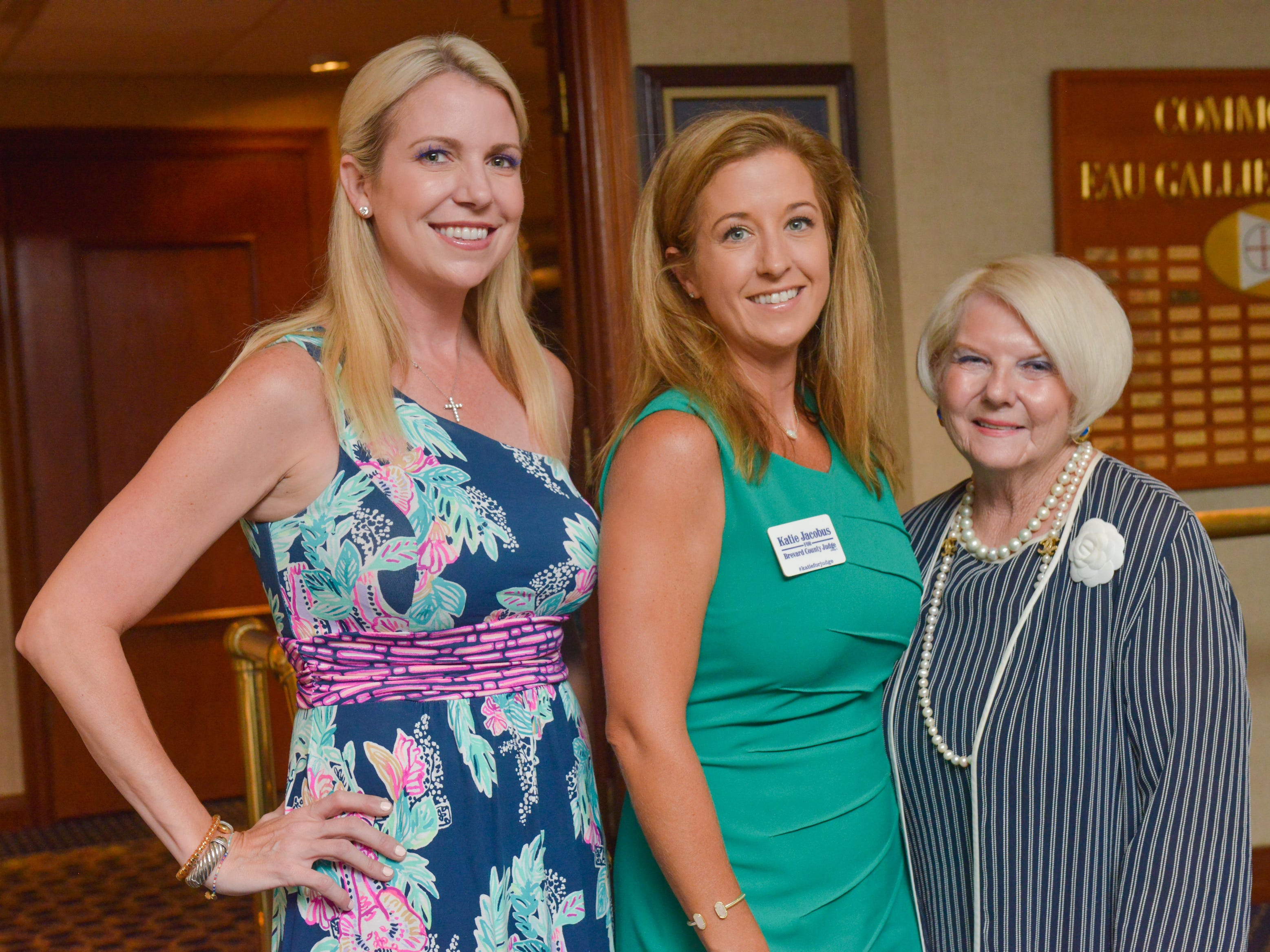Robin Harris, Katie Jacobus and Darcia Jones Francey at Friends of Sally's House luncheon at the Eau Gallie Yacht Club.
