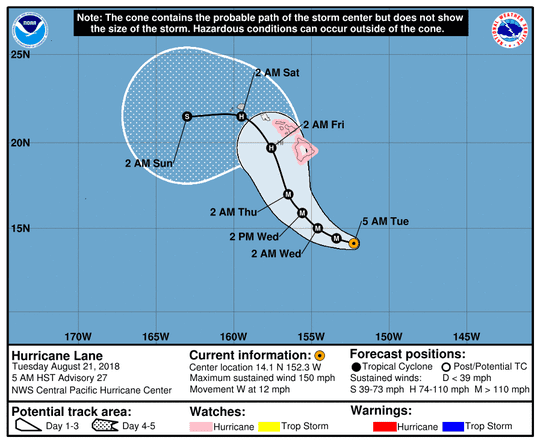 Hurricane Lane noon Aug. 21, 2018