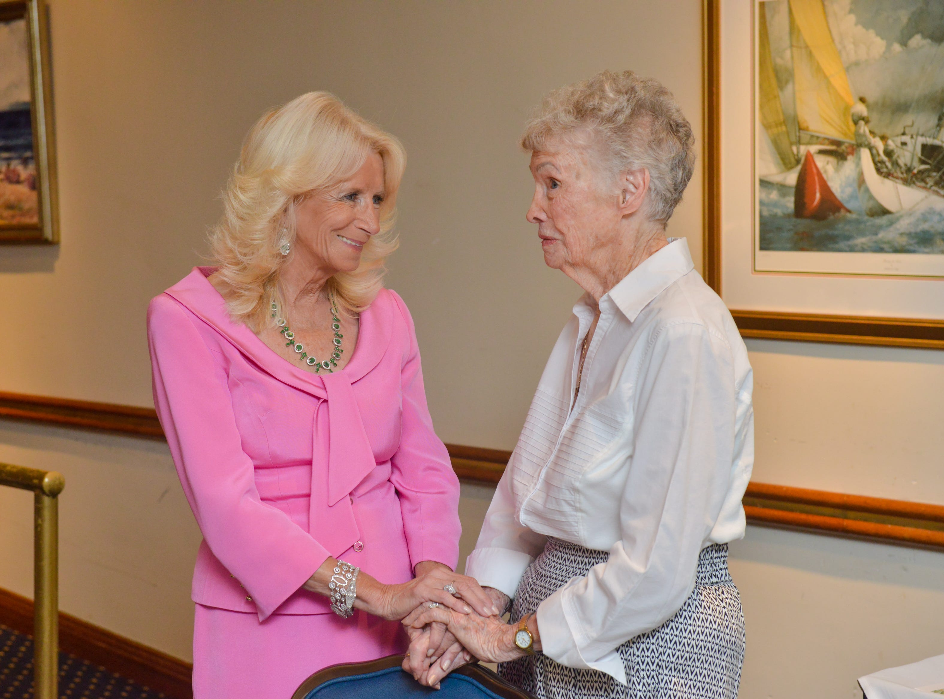 Sandy Evans-Bottieri and Dorothy Russel visit together at Friends of Sally's House luncheon at the Eau Gallie Yacht Club.