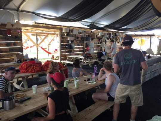 Staff and volunteers remaining on the festival grounds visited The Skinny Pancake's restaurant on Friday, Aug. 17, 2018, the day after Phish's Curveball festival was canceled.