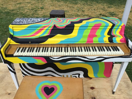 A painted piano sat waiting to be played after Phish's Curveball festival was canceled.