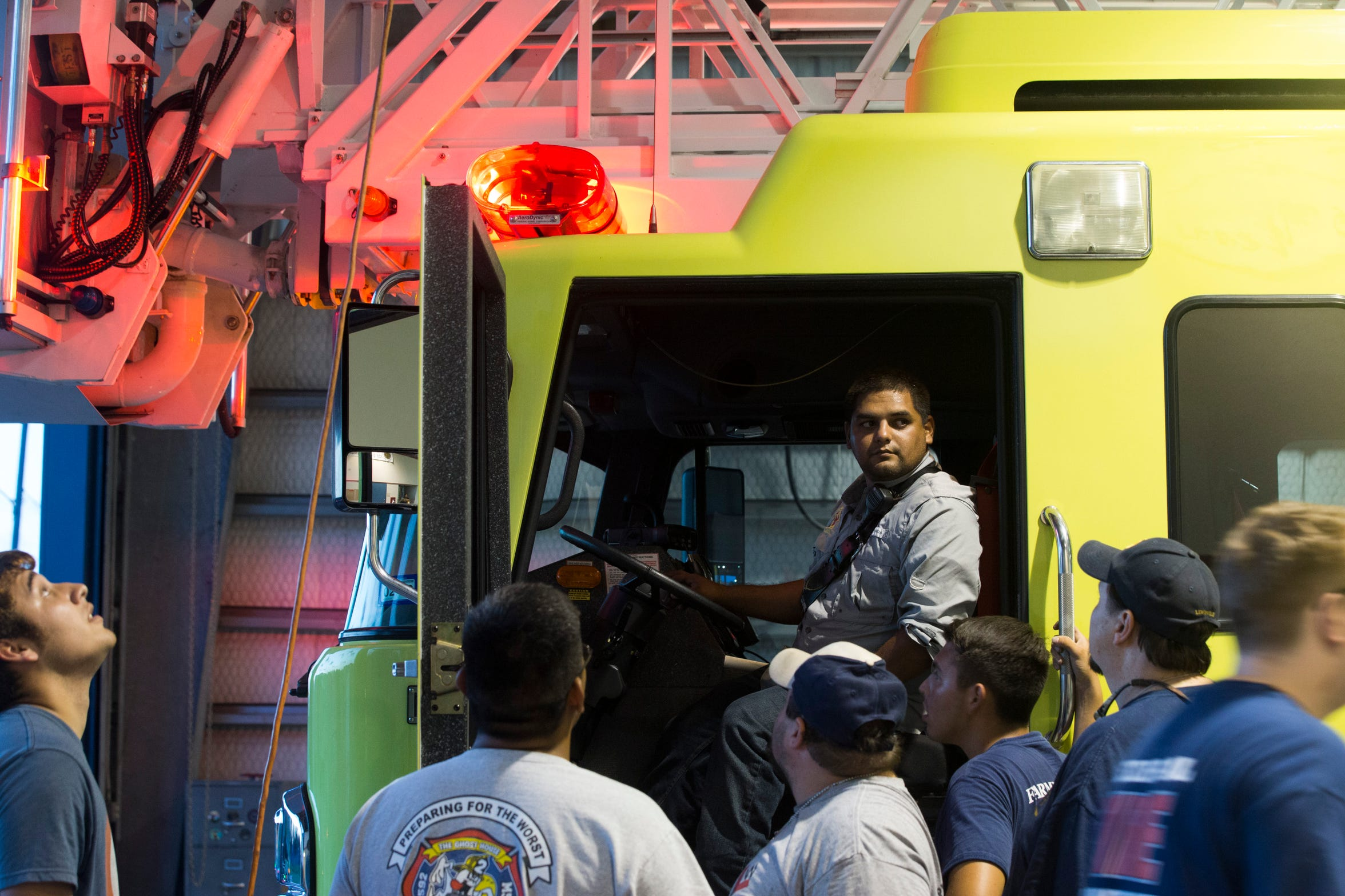 Aaron Guerrero sits in a truck at the Rockport Volunteer Fire Department during their monthly meeting on Thursday, August, 16, 2018 in Rockport. Twenty  two members of their department stayed in their station during Hurricane Harvey.