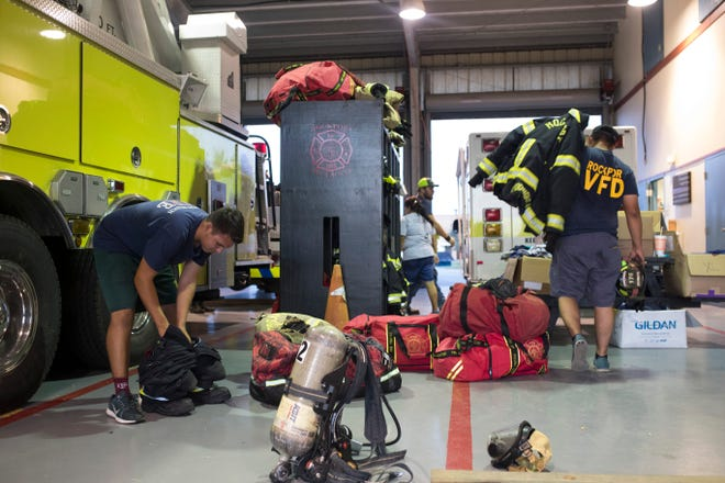 Members of the Rockport Volunteer Fire Department work during their monthly meeting on Thursday, August, 16, 2018 in Rockport. Twenty  two members of their department stayed in their station during Hurricane Harvey.