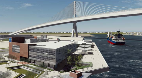 Pictured is a rendering of what will be the Port of Corpus Christi's new headquarters that will be located adjacent to the Congressman Solomon P. Ortiz International Center. Behind the building is the Harbor Bridge replacement currently under construction.