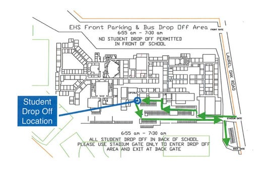 This diagram depicts the location and traffic pattern for Eastern Regional High School's new drop-off procedures.
