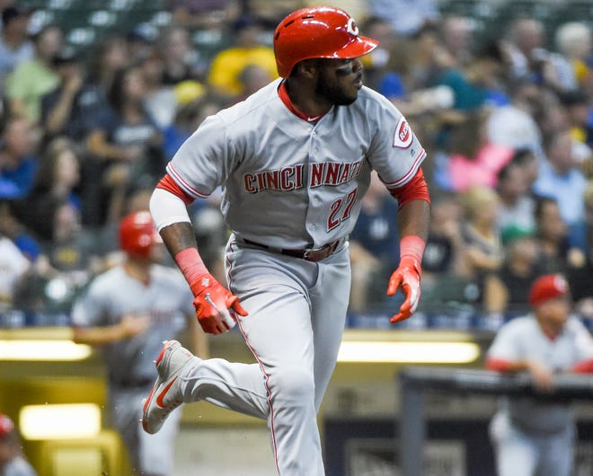 Cincinnati Reds right fielder Phillip Ervin (27) runs the bases after hitting a solo home run in the second inning against the Milwaukee Brewers at Miller Park.