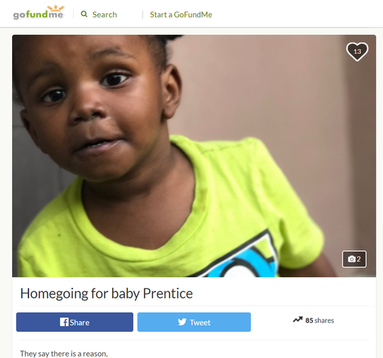 GoFundMe page for Prentice Humphrey