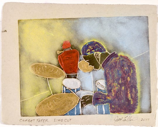 """""""Smokin At Moores"""" by Jim Fallon is an example of the works featured at """"Works on Paper"""" at the Gallery on Division nowto Sunday, Sept.23."""