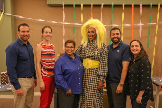 From Left to Right: Rahway Mayor, Raymond A. Giacobbe, Friends of the Rahway Public Library President Councilwoman Joanna Miles, Freeholder Rebecca Williams, drag performer, Harmonica Sunbeam, Freeholder Chairman, Sergio Granados and Coordinator of the Division of Outreach and Advocacy, in the Union County Office of LGBTQ Services, Danni Newbury.