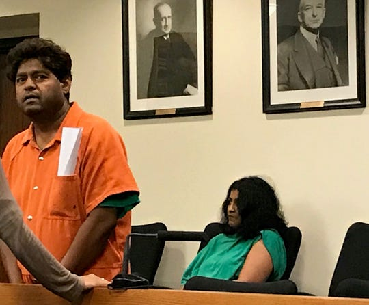 Narsan Lingala and Sandya Reddy attend a brief hearing Tuesday in Middlesex County Superior Court.