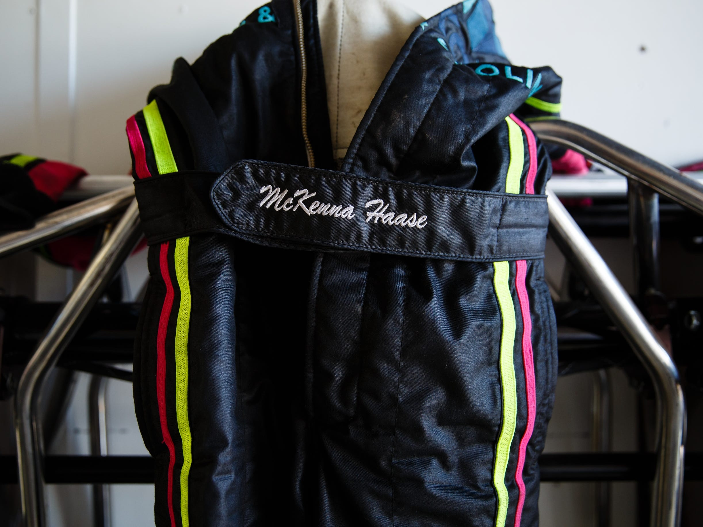 McKenna Haase's fire suit hangs in her trailer before her race on Saturday, July 14, 2018, in Knoxville.