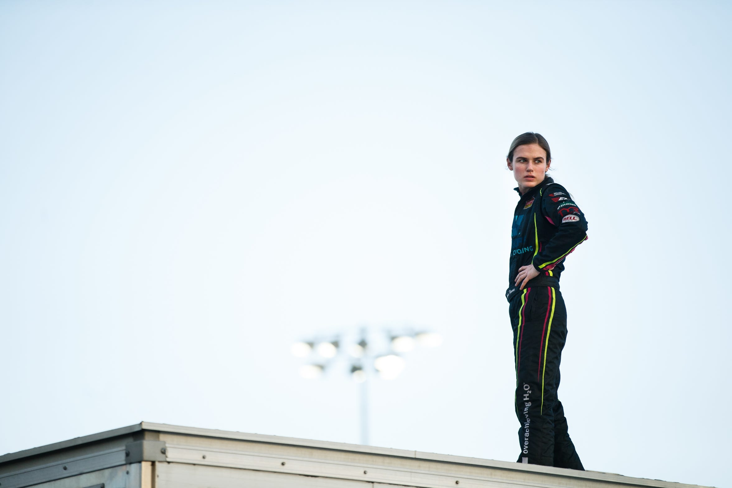 McKenna Haase watches as other drivers run their hot laps on Saturday, July 14, 2018, in Knoxville.